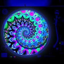 Dj Turntable Slipmat 12 inch Glows under Blacklight - Her Tie Dye