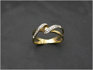 Diamond Band Crossover Ring size N 9ct Gold real diamonds Sheffield HM Unusual