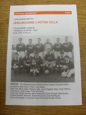 14/04/1992 Shelbourne v Aston Villa [Friendly] (Single Sheet). Item appears to b