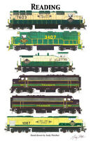 """Reading Lines Locomotives 11""""x17"""" Railroad Poster by Andy Fletcher signed"""