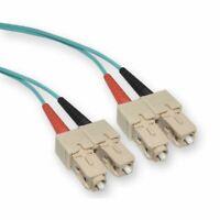 ED90089 10 Gigabit Aqua Fiber Optic Cable, SC/Multimode, Duplex, 50/125, 3M, 2