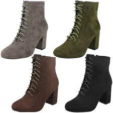 Damen schwarz/dunkelgrau/khaki Spot On Schnürschuh mit Absatz Stiefeletten Fashion Boots F50854