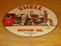 "VINTAGE 1939 ""SHELL MOTOR OIL CAR & WOMAN"" 11 3/4"" PORCELAIN METAL GASOLINE SIGN"