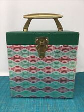"""Vintage 45 Rpm Record Case cardboard  7"""" Record Case EX Silver, Red & Green"""