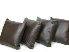 4 Brown Faux Leather 22 Inch Cushion Covers Complete With Inners/ Inserts