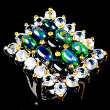 Handmade Natural Black Opal 925 Sterling Silver Ring Size 5.5/R120944