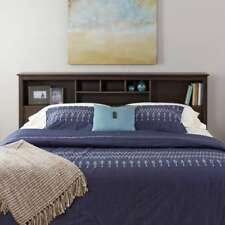 King Size Bookcase Headboard Bed Bedroom Storage Espresso Wood Furniture 75 Inch