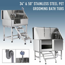 """34' 50"""" Dog Grooming Bath Tub Load Capacity S-Trap Drainage Stainless Steel"""