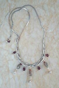 Labradorite Garnet Pearl Sterling Silver 925 Serpentine Chain Necklace Sundance