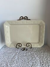 Longaberger: Pottery Woven Traditions Rectangular Large Tray- Ivory, Euc, Usa