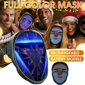 Halloween Rechargeable LED FULL FACE Cover -New Larger Programmable Mask Cover
