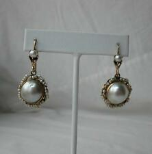 Georgian Earrings Mabe Pearl 14K Gold Wedding Jewelry Hollywood Regency Antique