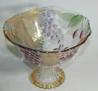 Vtg Mikasa Chablis Fruit Crystal Round Compote Bowl - 3D Embossed Colored Fruit