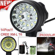 34000LM 14 x CREE XM-L T6 LED Fahrradlampe Scheinwerfer kopflamp Licht Akkupack