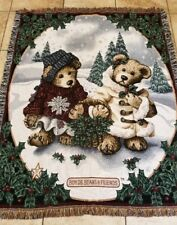 "Boyds Bears Tapestry Throw Blanket Edmund & Bailey ""50 x 70"" Christmas EUC"