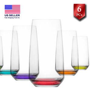 Water Drinking Glasses Set of 6, Highball Glassware Set, Colorful Tumbler, 16 oz