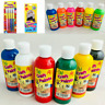 6 X 200ml Childrens Craft Poster Paint Ready Mixed Kids Art Craft Paints Brushes