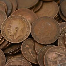 LOT OF 10 GREAT BRITAIN UNITED KINGDOM 1 PENNY COINS, KING GEORGE V 1911 - 1936