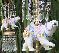Beaded porcelain Carousel Polar Bear Carousel Lamp Swag Chandelier Vintage Opali