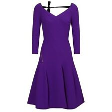 New Roland Mouret $2570 Purple 3/4 Sleeve Wool Dress SZ 6 US/10 UK/ 38 FR/42 IT