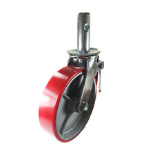 "Scaffold Caster 8"" x 2"" Red Wheels w/ Locking Brakes 1-3/8""  800 lbs. Capacity"