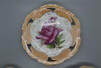 VINTAGE NORLEANS PLATE HAND PAINTED Pink Rose JAPAN Lusterware
