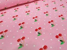 ☻ Stoff Baumwolle Jersey Kirschen Pünktchen rosa rot grün weiß Kinderstoffe☻