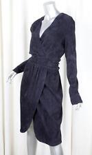 JITROIS Womens Navy Blue Stretch Suede Long-Sleeve Sheath Dress 44/12 L NEW