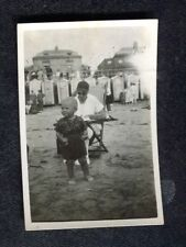 Dated 1926 Photo: Lady on Deckchair, Small Child & Bathing Huts, Bognor