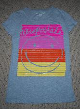 Juniors Clothing Aeropostale Logo Slim Fit T-Shirt Medium Smiley Face Rainbow