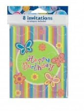 Birthday Invitation and Thank You w/envelopes Spring/Summer Butterflies