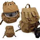 Vintage Canvas DSLR Camera Backpack Travel Bag Rucksack Daypack Padded Insert