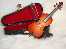 "CELLO Miniature Only 4"" Long W/ Case & Stand Wood Great MUSIC Gift NIB Cute!"