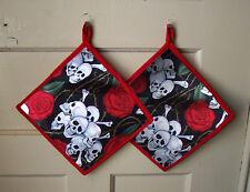 New listing Skull and Roses Pot Holder Cook Baker Gift Alexander Henry Goth Biker