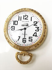Belair Quartz Gold-Tone Train Engraving Working Condition Pocket Watch