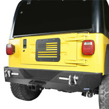 Rear Bumper w/ 2x Floodlight & Hitch Receiver For Jeep Wrangler YJ TJ 1987-2006