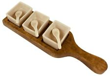 Wooden Tray With Dip Bowls & Spoons Solid Mango Wood Tableware Serving Dishes