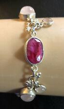 Sterling Silver Bracelet Indian Ruby Rose Quartz 40 Carats 7.25+ 20g 925 #1158