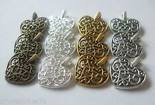 12 x Hearts Filigree Charms Mixed Colours Bronze Silver Gold 17x15x2mm Crafts