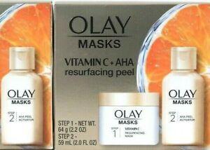1 Ct Olay 2 Step Vitamin C & AHA Resurfacing Peel Vibrant Glow Face Treatment