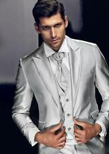 Handsome Silver Groom Tuxedos Peak Lapel Men Tuxedos Men Wedding Suits Custom