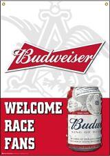 """New Budweiser Welcome Race Fans 13 oz vinyl 36"""" x 48"""" Vertical Outdoor Banner"""