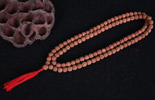 "Long 108 9mm Rudraksha Bodhi Seeds Prayer Beads Mala Necklace 38"" w Red Tassel"