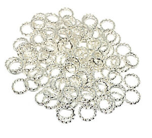 8mm twisted silver plated brass open jump rings 16 gauge