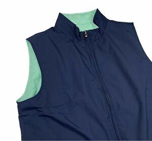 Peter Millar Crown Men's Soft Reversible Vest Blue Green Sz Medium M