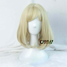 42cm Lolita Medium Wavy Bang Light Blonde Cosplay Anime Wig Heat Resistant Bob