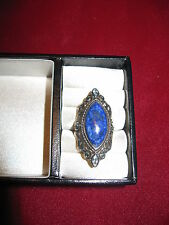 Sterling silver marquise lapis ring with blue topaz accents size 6