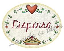 Targa targhetta ovale decorativa country legno per porta con frasi DISPENSA