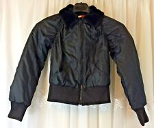 Tommy Girl Black Insulated Jacket Faux Fur Collar Bomber  Puffer Red Lining