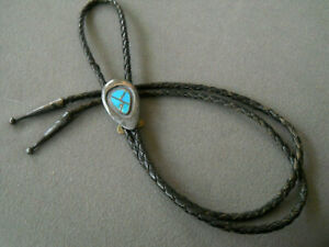 1967-83 Native American Zuni Flush Turquoise Inlay Sterling Silver Bolo Tie